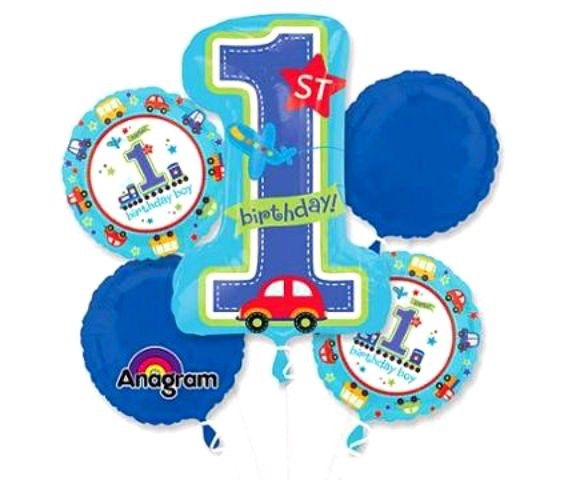 Car First Birthday Boy Bouquet Foil Balloons Balloons Balloon Town - Party Boulevard Singapore Balloons Helium