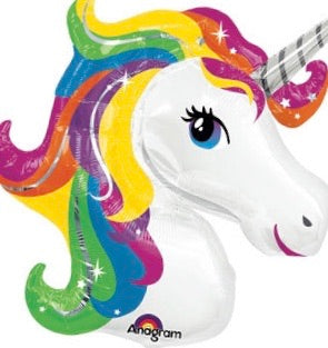 "Unicorn Shape Rainbow Giant Foil Balloons (33"") Balloons Balloon Town - Party Boulevard Singapore Balloons Helium"