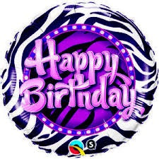 "Zebra Purple Happy Birthday Foil Balloons (18"") Balloons Balloon Town - Party Boulevard Singapore Balloons Helium"