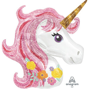 "Unicorn Shape Magical Sparkle Giant Foil Balloons (33"") Balloons Balloon Town - Party Boulevard Singapore Balloons Helium"