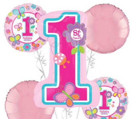 Sweet First Birthday Girl Bouquet Foil Balloons Balloons Balloon Town - Party Boulevard Singapore Balloons Helium