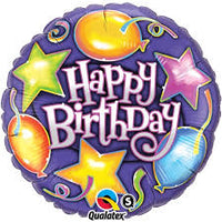 "Happy Birthday Stars and Balloons Foil Balloons (18"") Balloons Balloon Town - Party Boulevard Singapore Balloons Helium"