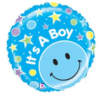 "It's a Boy Smiley Foil Balloons (21"") Balloons Balloon Town - Party Boulevard Singapore Balloons Helium"