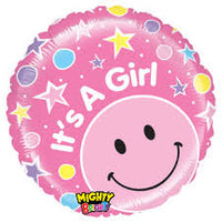 "It's a Girl Smiley Foil Balloons (21"")"