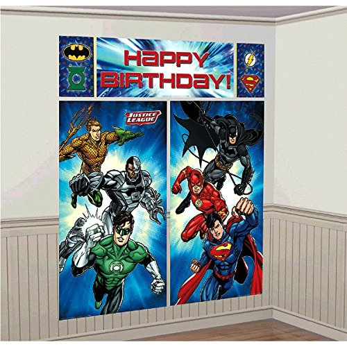 Adventure Filled Justice League Party Wall Decorating Kit (5 Piece) 1.5m x 1.6m Party Deco Party Boulevard - Party Boulevard Singapore Balloons Helium