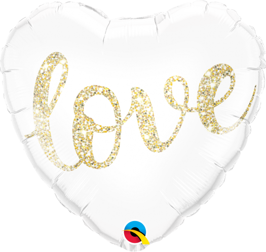 "Pure Love Glittering Gold Heart Shape Balloons (18"") Balloons Balloon Town - Party Boulevard Singapore Balloons Helium"