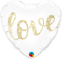 "Pure Love Glittering Gold Heart Shape Balloons (18"")"