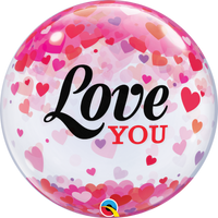 "Love You Confetti Bubble Balloons (22"")"