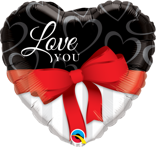 "Love You Ribbon Heart Shape Foil Balloons (18"") Balloons Balloon Town - Party Boulevard Singapore Balloons Helium"