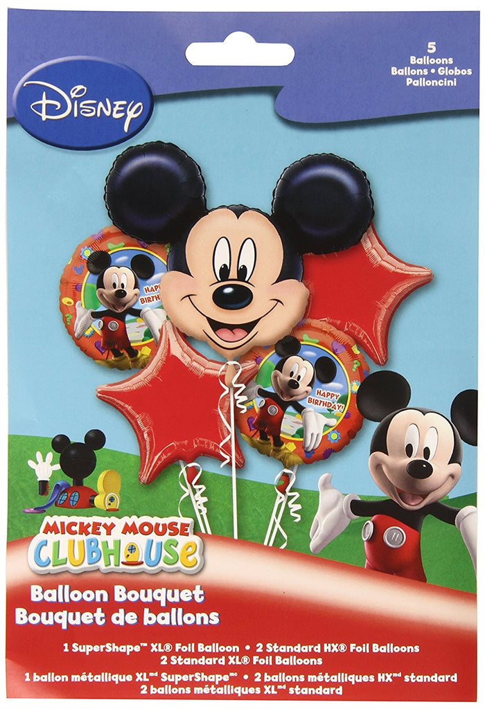 Mickey Mouse Bouquet Happy Birthday Balloons (5 pieces) Balloons Balloon Town - Party Boulevard Singapore Balloons Helium
