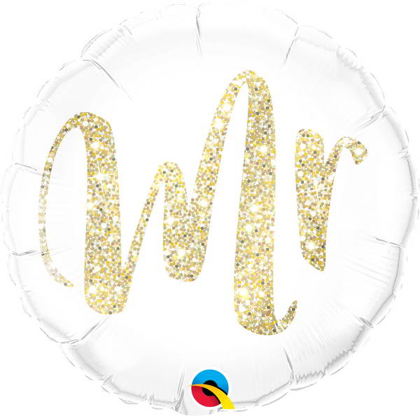 "Mr Glittering Gold Foil Balloons (18"") Balloons Balloon Town - Party Boulevard Singapore Balloons Helium"