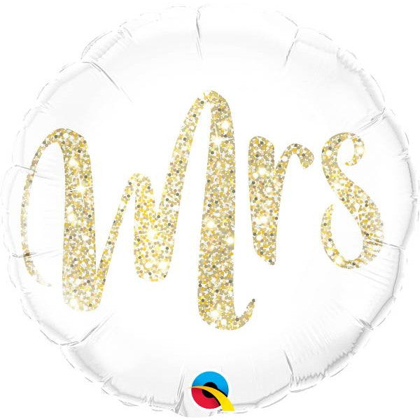 "Mrs Glittering Gold Foil Balloons (18"") Balloons Balloon Town - Party Boulevard Singapore Balloons Helium"