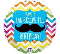 "Mustache Happy Birthday Foil Balloons (18"")"