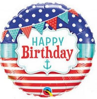 "Nautical Happy Birthday Foil Balloons (18"")"
