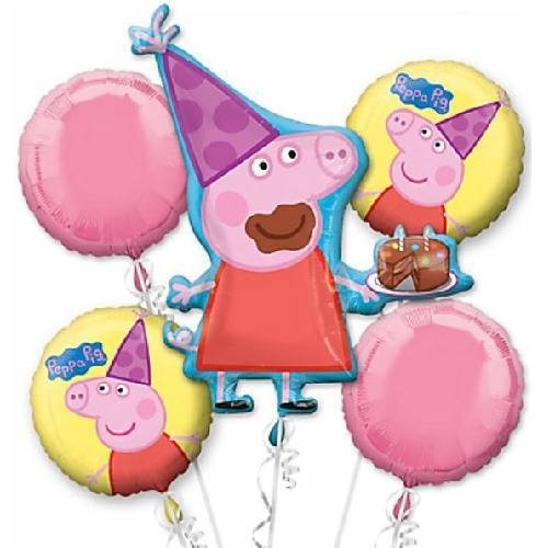 Peppa Pig Bouquet Balloons (5 pieces) Balloons Balloon Town - Party Boulevard Singapore Balloons Helium