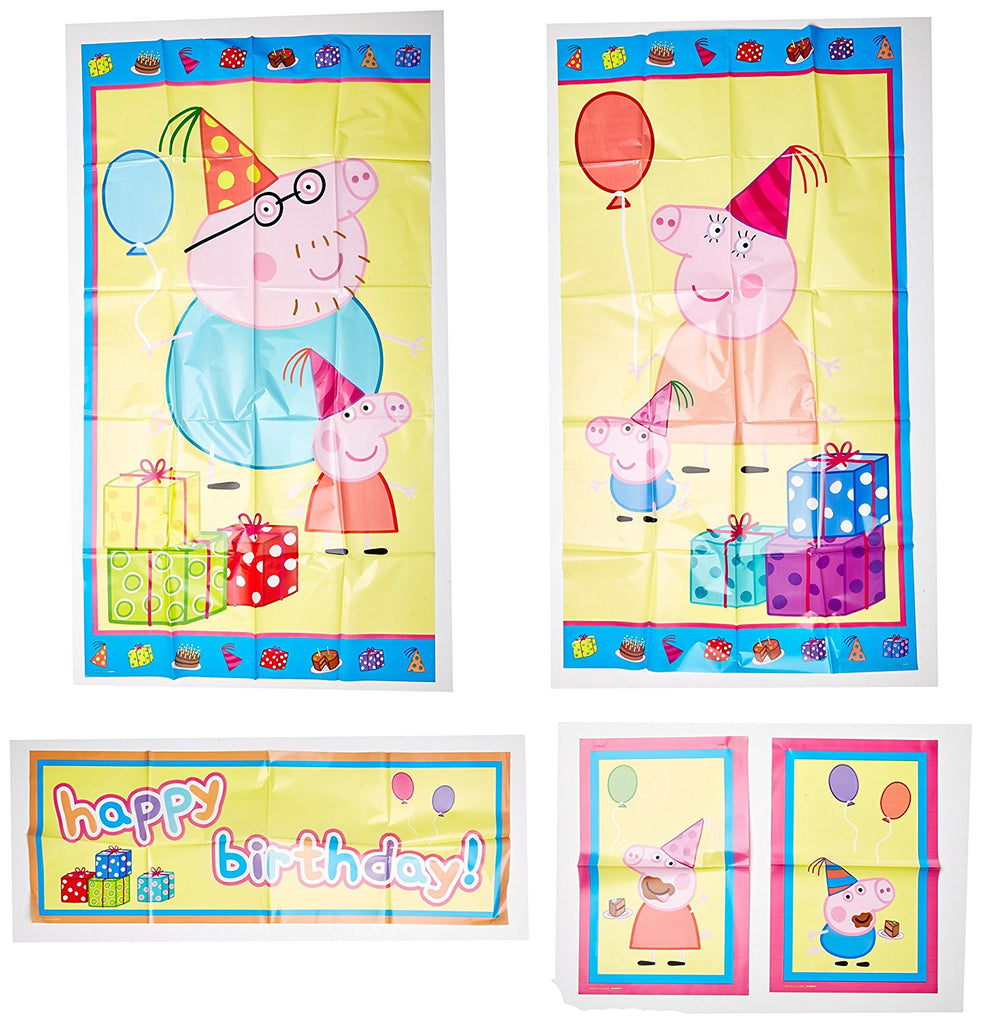 Peppa Pig Birthday Party Wall Decorating Kit (5 Piece) 1.5m x 1.6m Party Deco Party Boulevard - Party Boulevard Singapore Balloons Helium