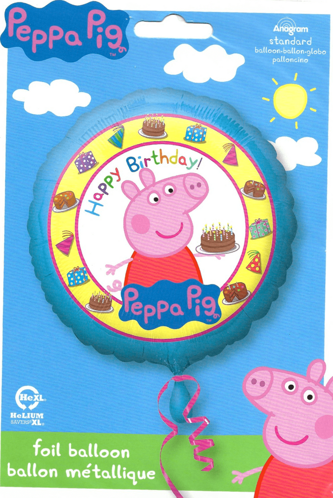 "Peppa Pig Happy Birthday Foil Balloons (18"") Balloons Balloon Town - Party Boulevard Singapore Balloons Helium"