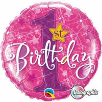 "First Birthday Star Pink Foil Balloons (18"")"