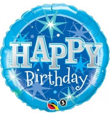 "Sparkle Blue Happy Birthday Foil Balloons (18"") Balloons Balloon Town - Party Boulevard Singapore Balloons Helium"