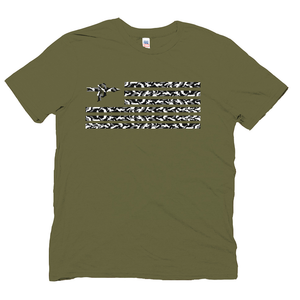 Grey Camo Flag/Sam is Dead Hemp Unisex Crew - AmericanPoet