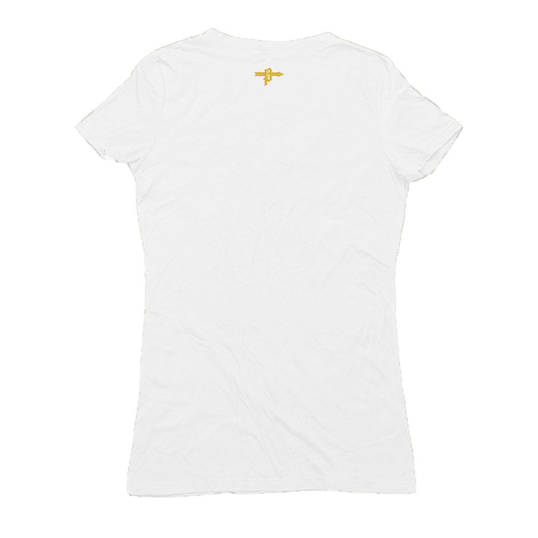 Golden Bull Skull Hemp Women's V-Neck - AmericanPoet