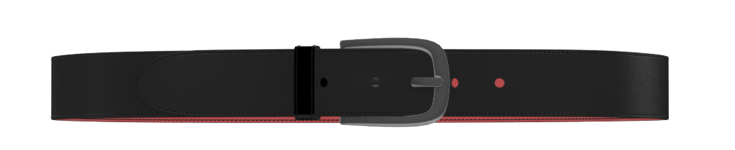 Black Leather D-Buckle Belt