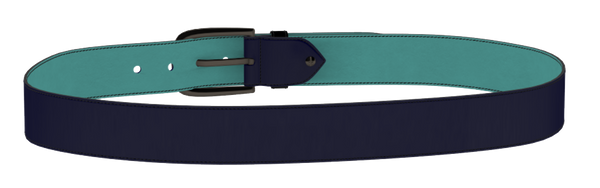 Patent Blue Leather D-Buckle Belt