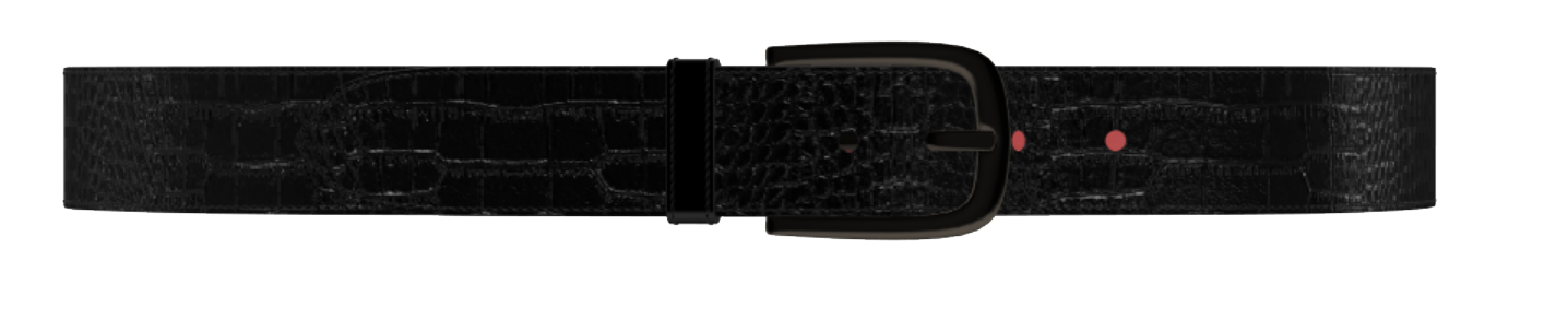 Black Crocodile and Patent Red Leather D-Buckle Belt