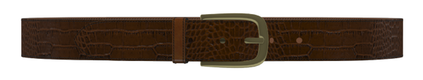 Brown Crocodile D-Buckle Belt