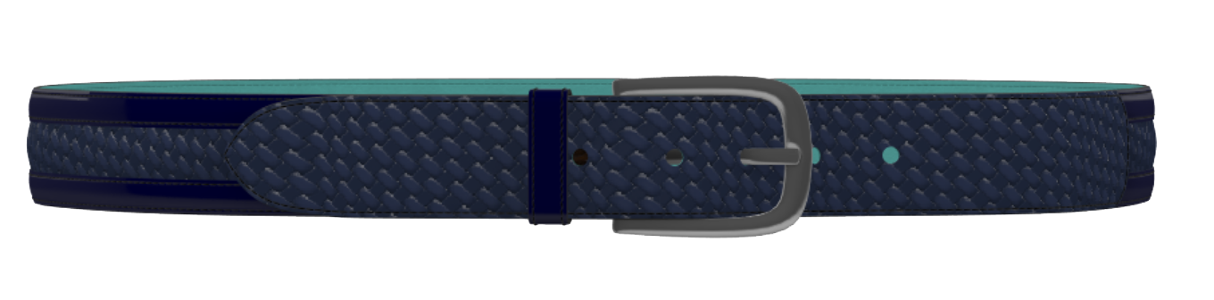 Patent Blue and Royal Blue Weave Leather D-Buckle Belt
