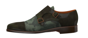 Green Camo and Marble Green Leather Double Monk