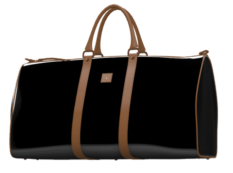 Black Patent Leather and Mocha Brown Weekender Duffel