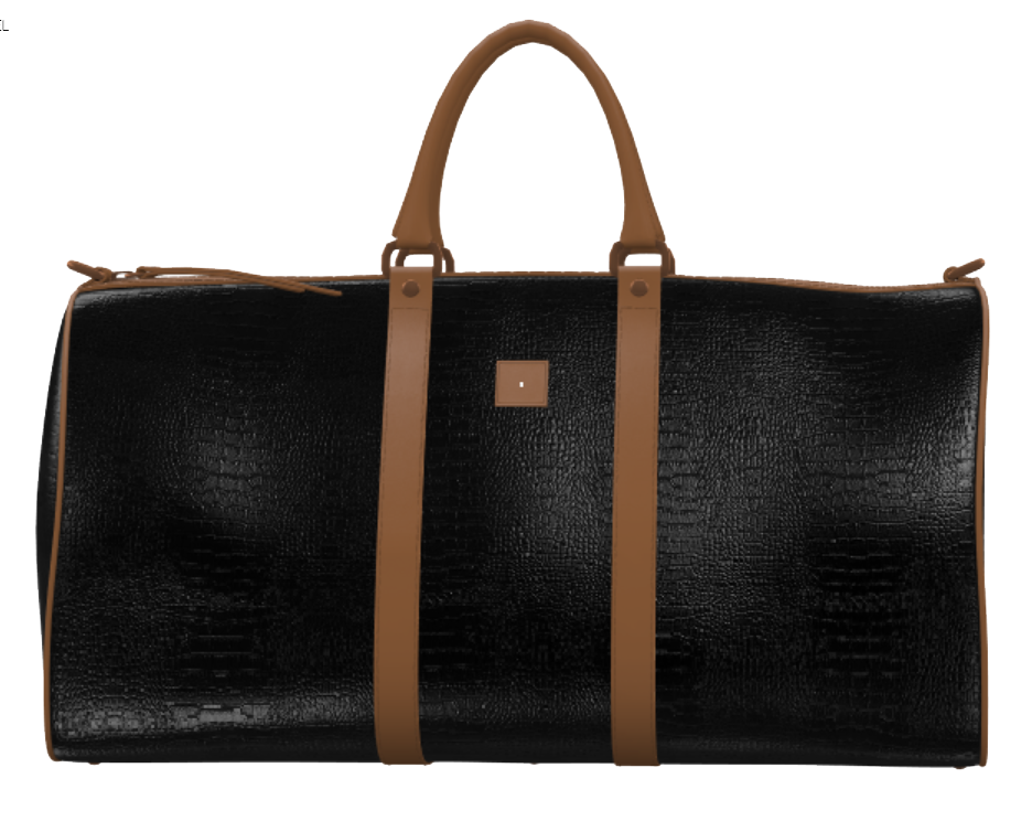 Black Crocodile and Mocha Brown Weekender Duffel