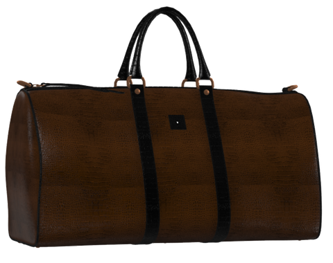 Chocolate Brown and Black Leather Weekender Duffel