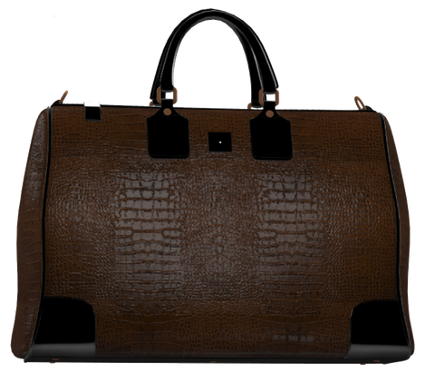 Brown Crocodile and Black Mini Duffel