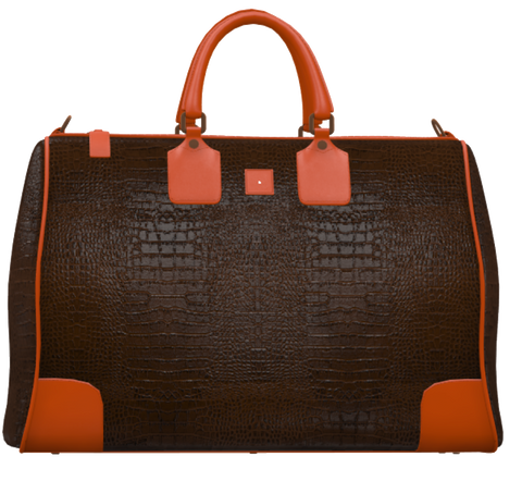 Brown Crocodile and Orange Mini Duffel