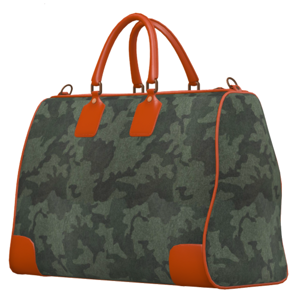 Green Camo and Orange Mini Duffel