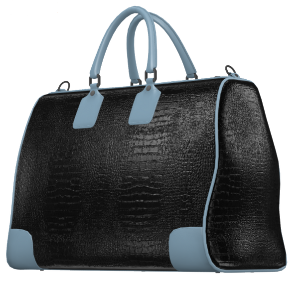 Black Crocodile and Light Blue Mini Duffel