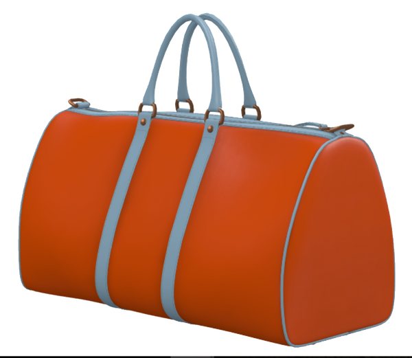 Orange and Light Blue Weekender Duffel