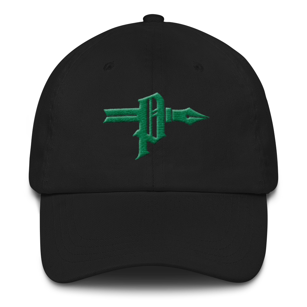 "Poet ""P"" Green Stitch Dad Cap - AmericanPoet"