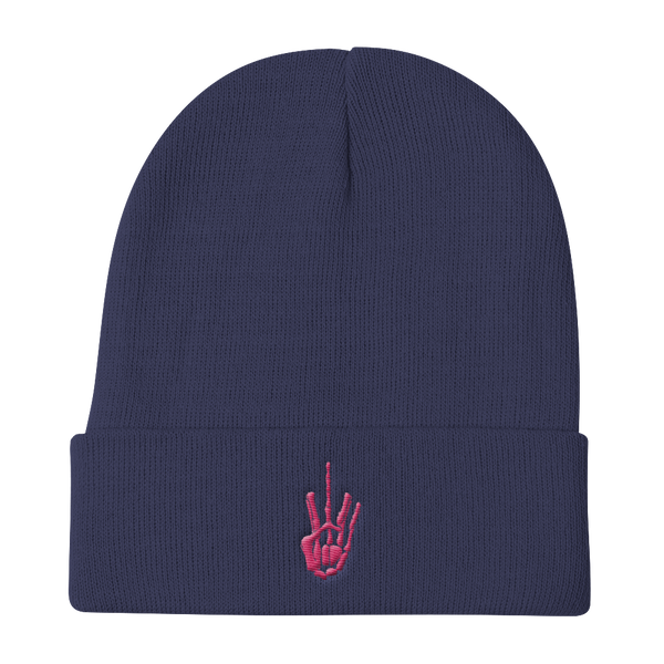 Pink Stitch Skeleton Middle Finger Beanie - AmericanPoet