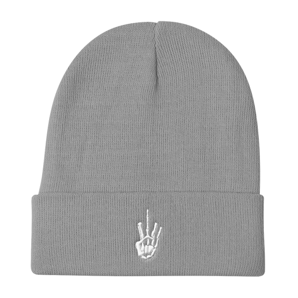 White Stitch Skeleton Middle Finger Beanie - AmericanPoet