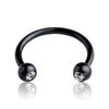 16g Black IP over 316L Surgical Steel Horseshoe with stones