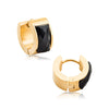 High Polished Gold IP Over 316L Steel hoop earrings with Black Faceted Glass Stone.