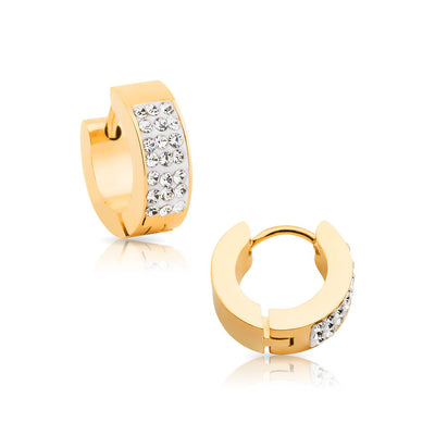 Gold IP over 316L Steel Hoop Earrings with Clear Gem Crystals.