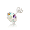 .925 Sterling Silver AB colored stone Round earrings (pair)