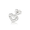 .925 Sterling Silver Heart Outline with Clear Crystal Gemstones