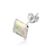 .925 Sterling Silver AB colored stone Square earrings (pair)