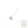 Pink Colored CZ Stone Sterling Silver Nose Pin