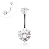 316L Surgical Steel Internally threaded Clear CZ double stone Navel ring.